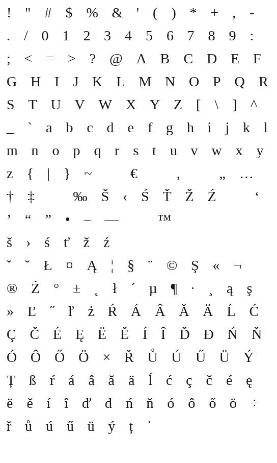 Mapa fontu Liberation serif