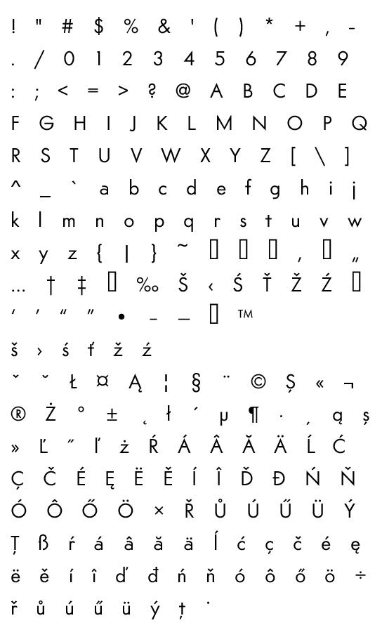 Mapa fontu Am Sans light