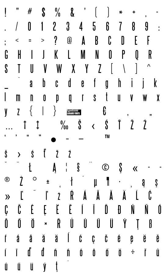 Mapa fontu Steelfish