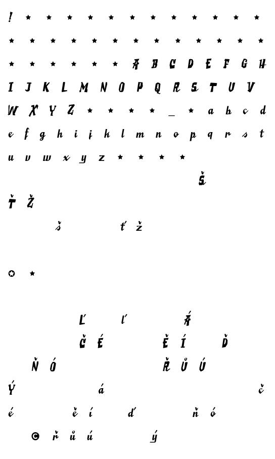 Mapa fontu Saucy Millionaire