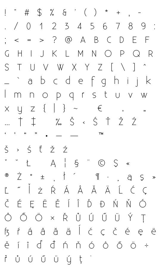 Mapa fontu Existence Light