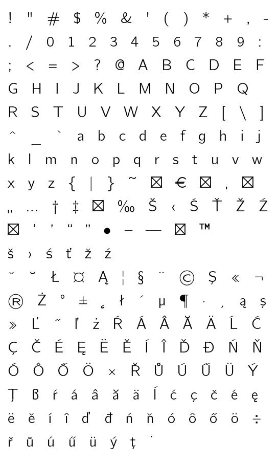 Mapa fontu CMU Bright