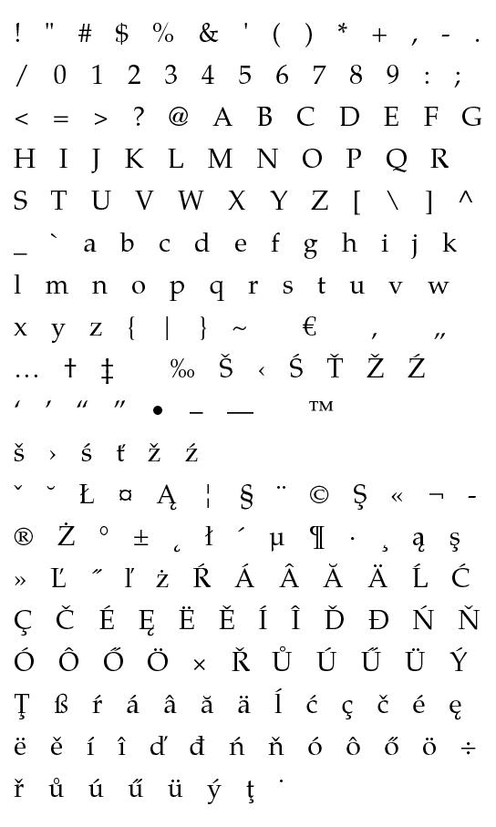 Mapa fontu TeX Gyre Pagella