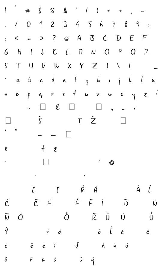 Mapa fontu Gunny Handwriting