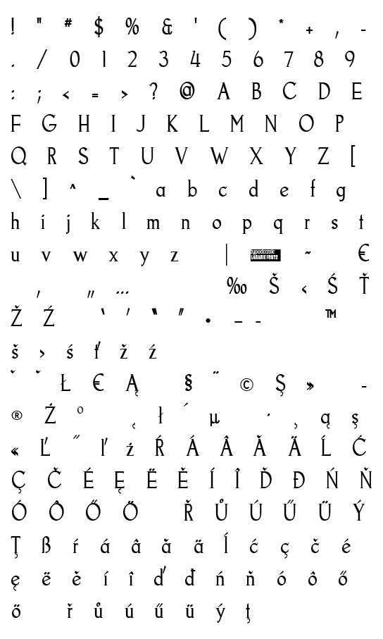 Mapa fontu Goodfish