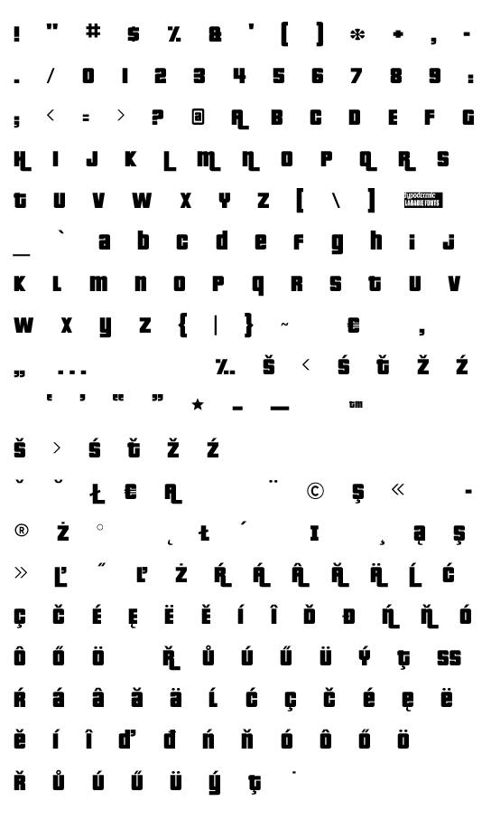 Mapa fontu Pricedown