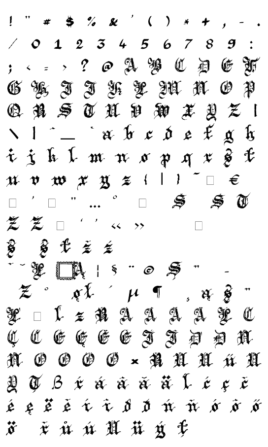 Mapa fontu Argor Brujsh Scaqh