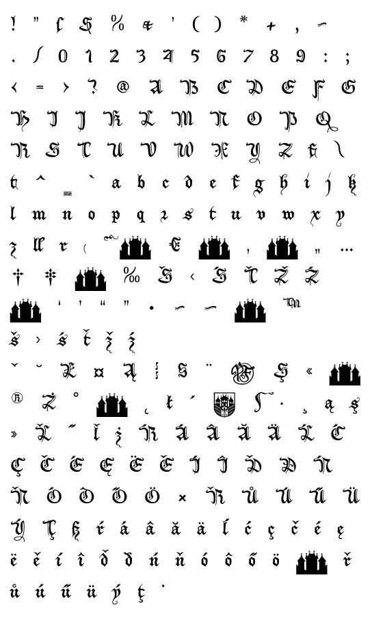 Mapa fontu XiBeronne