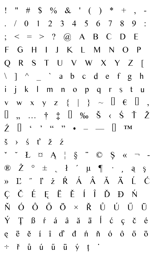 Mapa fontu Times Sans Serif