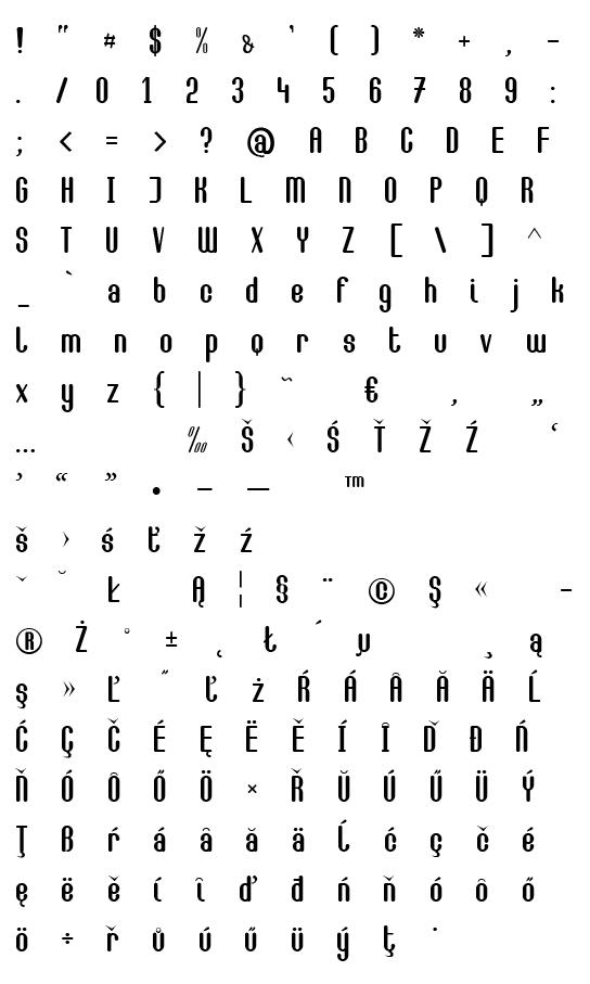 Mapa fontu Camilla