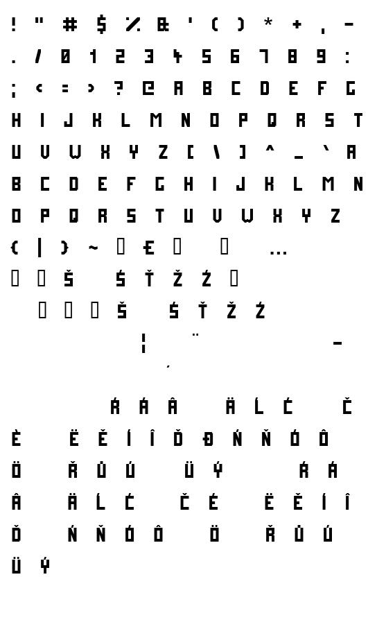 Mapa fontu Future Millennium