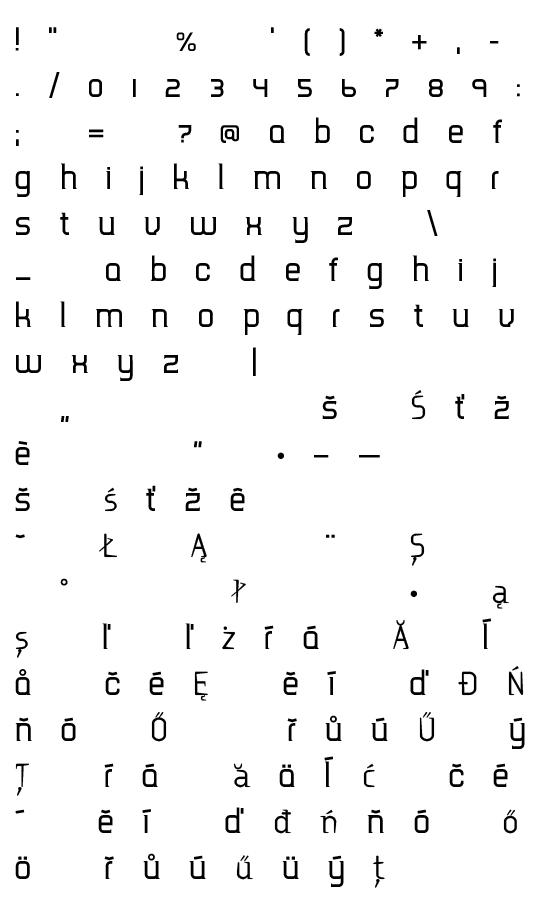 Mapa fontu TripSerif CE