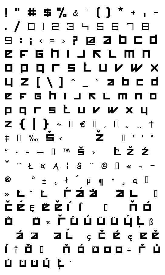 Mapa fontu HappyKiller