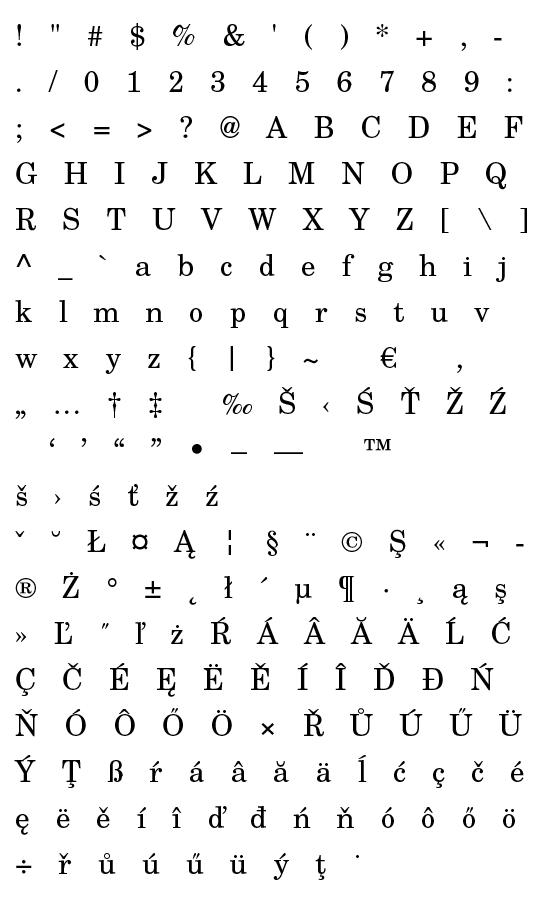 Mapa fontu TeX Gyre Schola