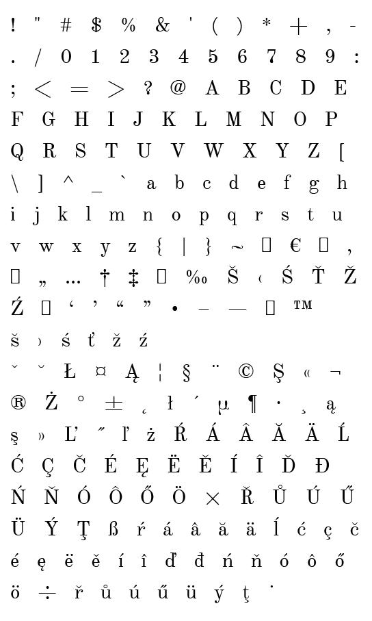 Mapa fontu Old Standard TT
