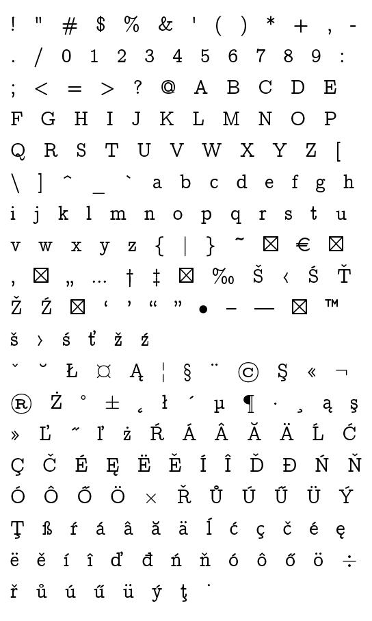 Mapa fontu CMU Concrete